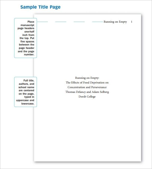 apa format coverpage