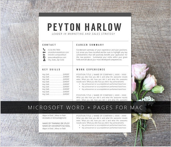 resume cover page word template