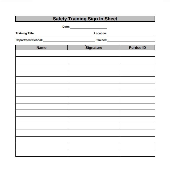12+ Sample Training Sign in Sheets Sample Templates - training sign in sheet example