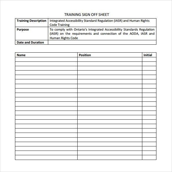 Sample Training Sign in Sheet - 11+ Examples  Format