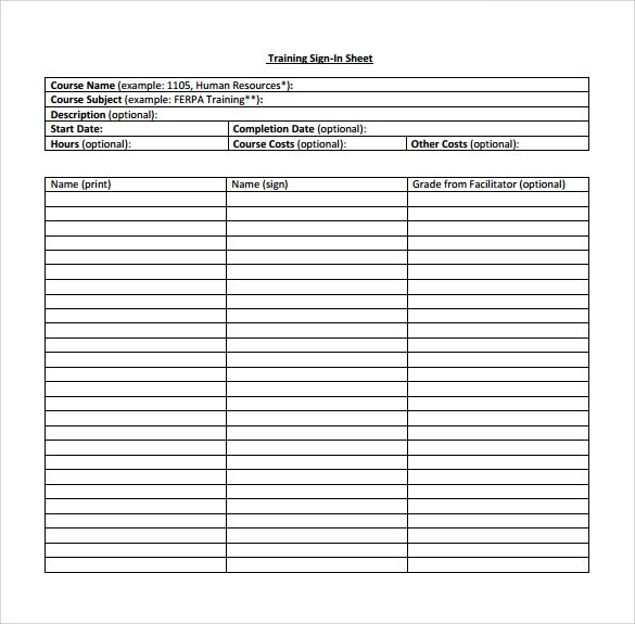Sample Training Sign In Sheet. Safety Training Sign In Sheet .