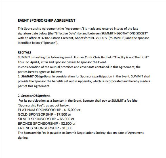 Sponsorship Contract Template 100 Sponsorship Agreement Templates