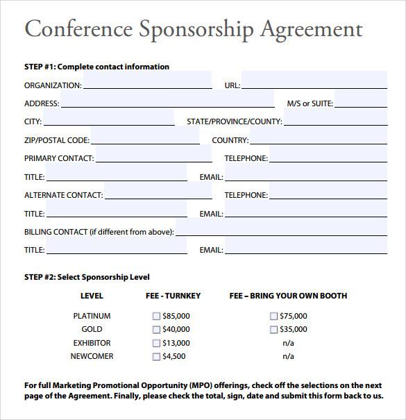 free sponsorship agreement - shefftunes