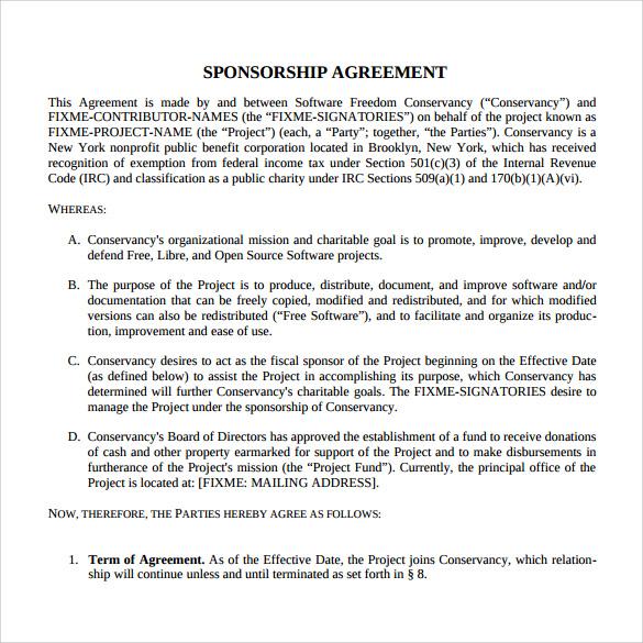 Doc#585610 Athlete Sponsorship Contract u2013 15 Sponsorship - sponsorship contract template