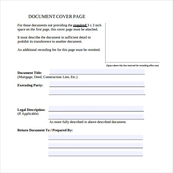 15 Sample Cover Page Templates to Free Download Sample Templates - sample cover page