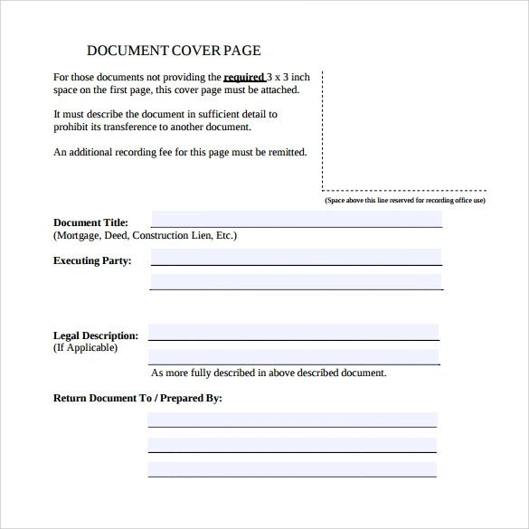 cover page word template free download