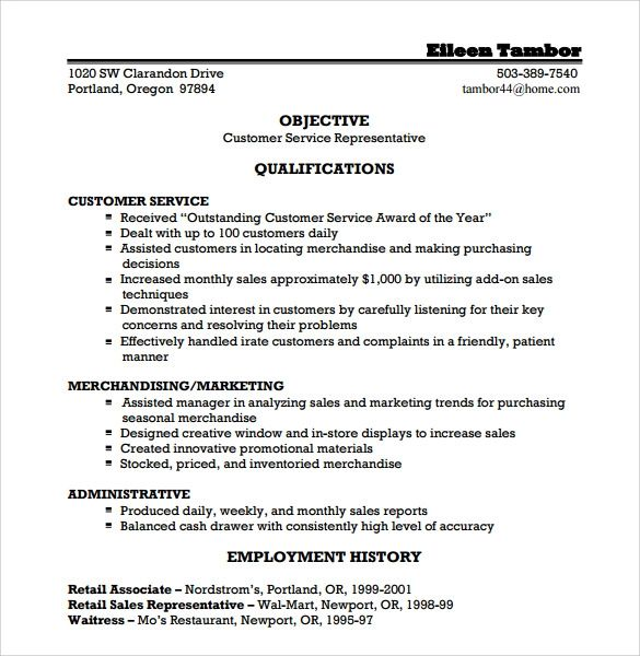 resume header for customer service