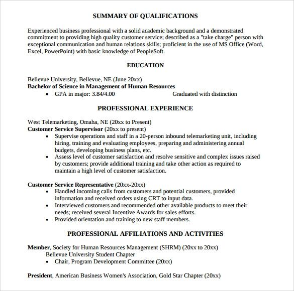 summary of qualifications for customer service representative