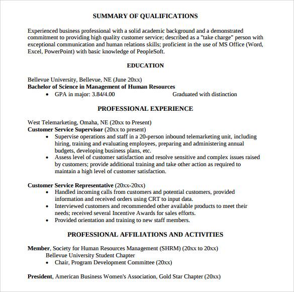 resume summary of qualifications customer service