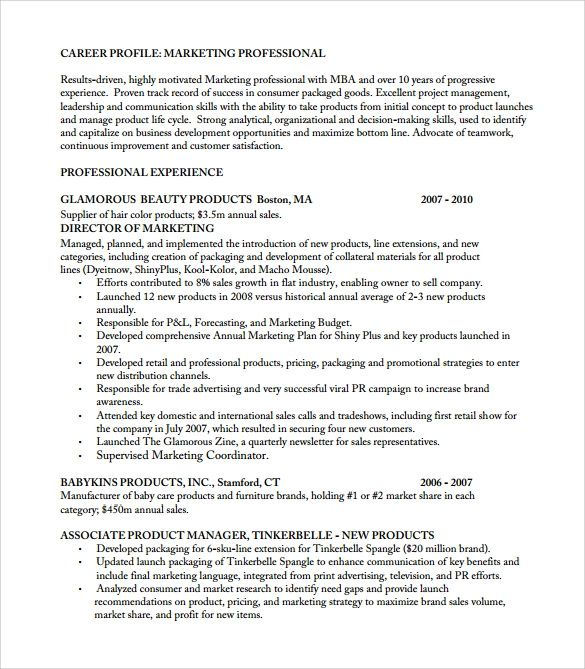 resume templates product manager
