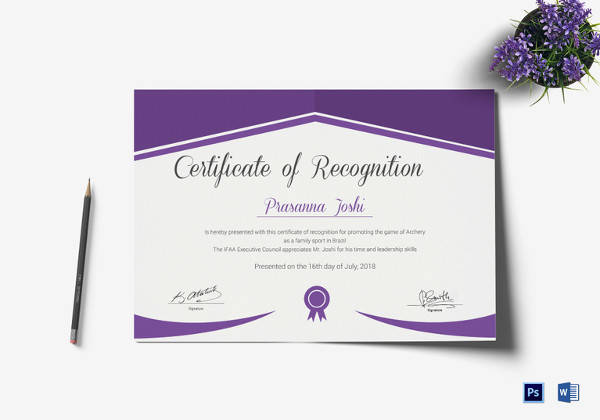 29+ Certificate of Recognition Templates Sample Templates