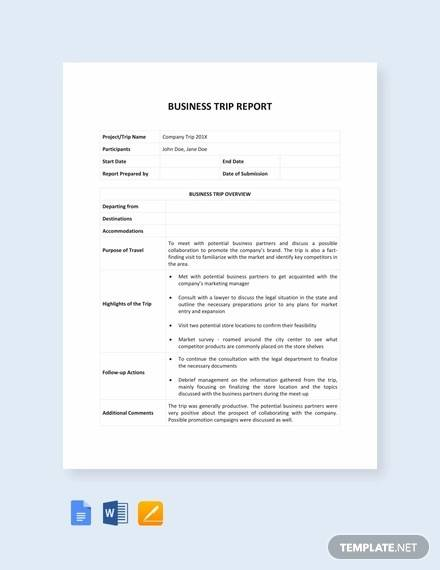14+ Sample Trip Reports- Word, Apple Pages