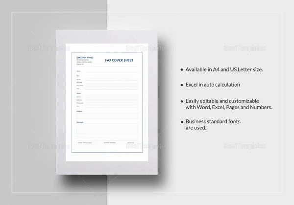 Sample Fax Cover Sheet - 10+ Examples  Format