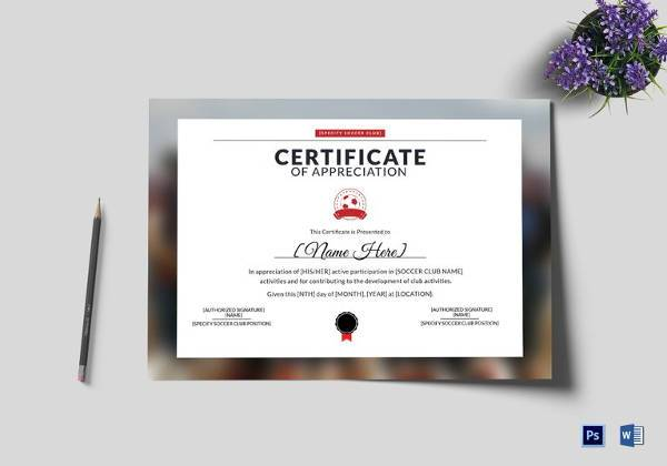 Soccer Certificate Templates - 17+ PSD, AI, InDesign, Word Download