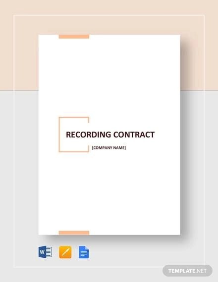 Recording Contract Template - 11+ Download Documents in PDF, Word
