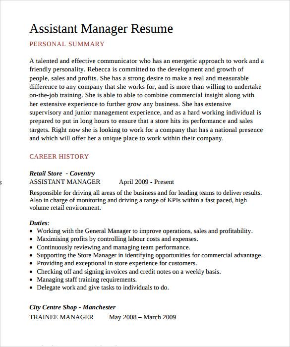 assistant manager cv pdf