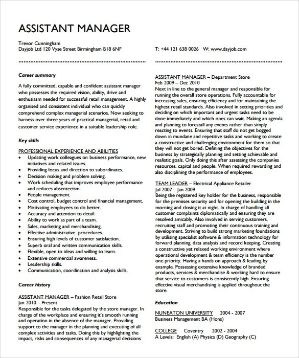 10+ Assistant Manager Resume Templates Sample Templates - sample assistant manager resume