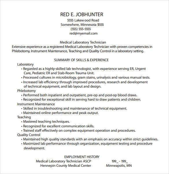 Gallery of Phlebotomy Resume Templates