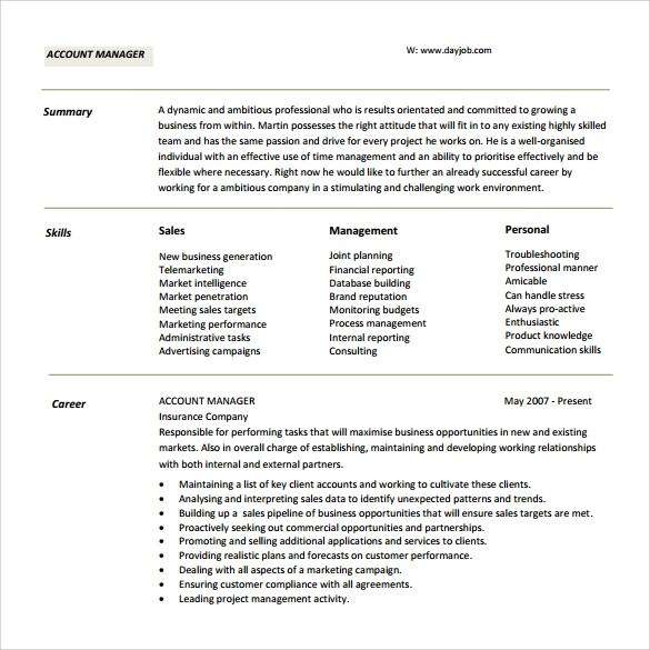 13 Account Manager Resumes to Free Download Sample Templates - manager resume pdf