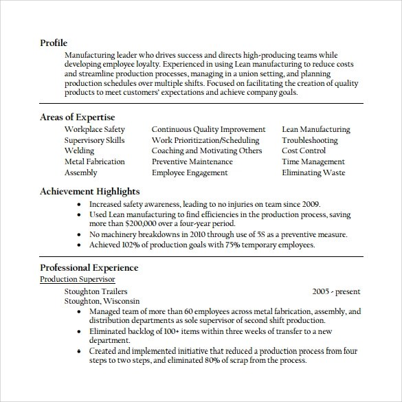 Sample Supervisor Resume - 15+ Download Free Documents in PDF, Word