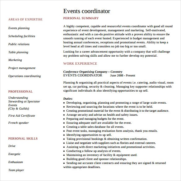 8+ Sample Event Planner Resumes Sample Templates - event coordinator resume