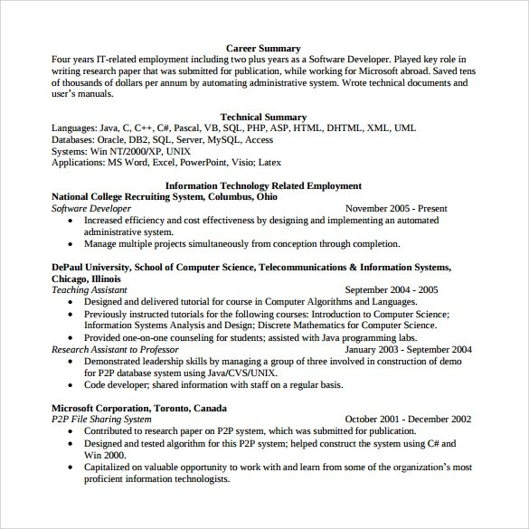 11+ Software Developer Resumes Sample Templates - Software Developer Resumes