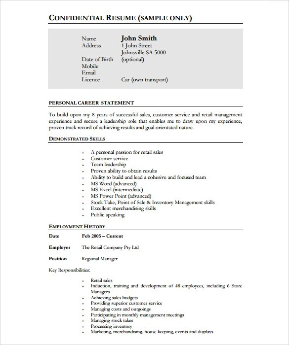 11+ Store Manager Resume Templates Sample Templates - store manager resume sample