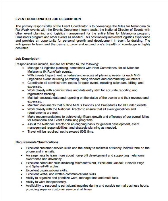 event coordinator resume sample free