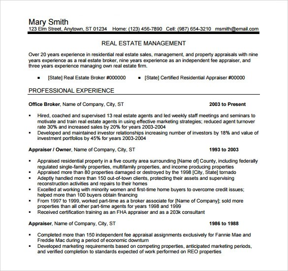 14 Real Estate Resume Templates to Download for Free Sample Templates