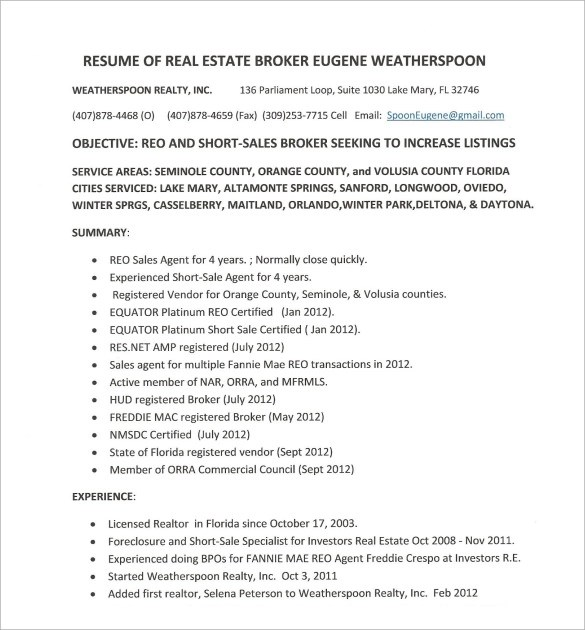 Real Estate Agent Resume Example Sample Sample Real Estate Resume 14 Download Free Documents