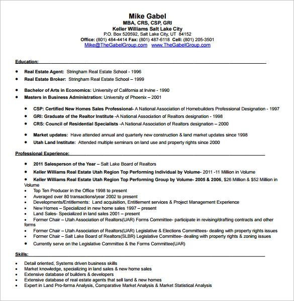 sample resume real estate broker