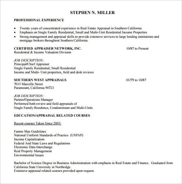 14 Real Estate Resume Templates to Download for Free Sample Templates - review appraiser sample resume