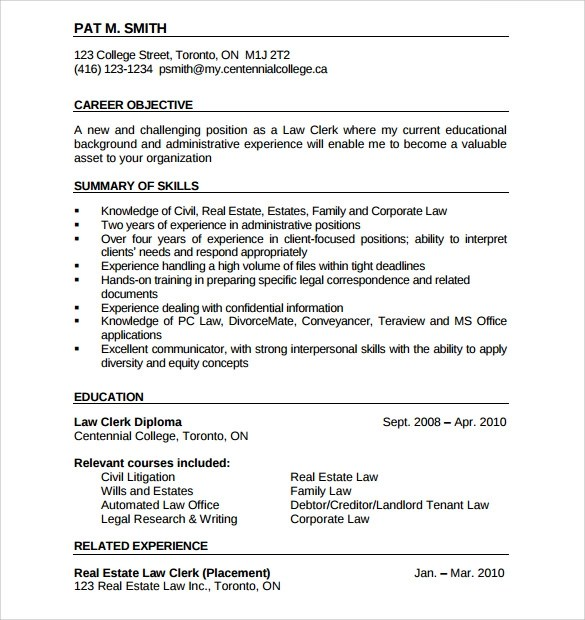 Letter writing and sixth grade law clerk resume objective Management