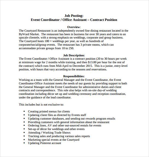 event coordinator resume sample