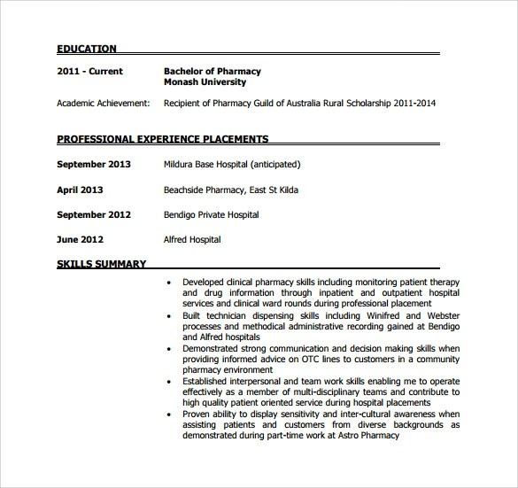 Sample Pharmacist Resume - 9+ Download Documents in PDF