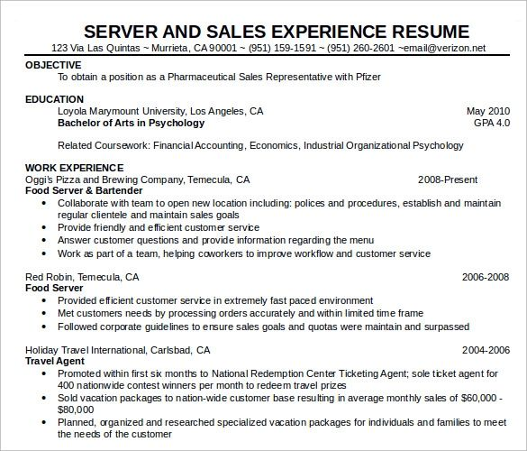 resume examples food service