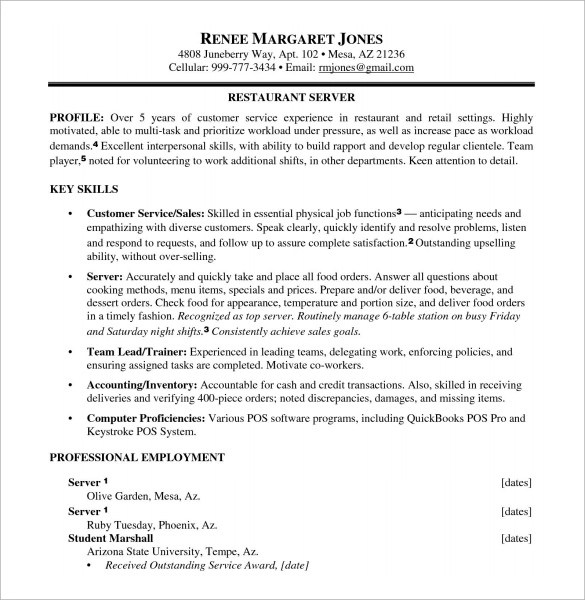 7+ Sample Food Service Resumes Sample Templates
