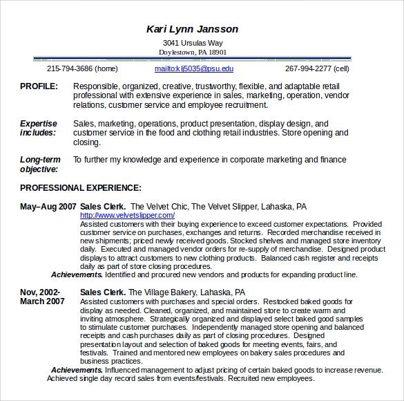 free resume templates for food service
