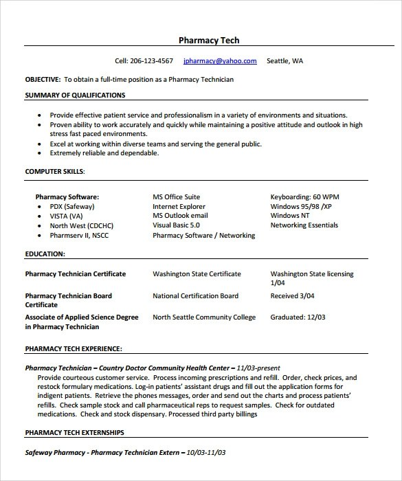 Chronological Resume Sample Settlementorg Sample Pharmacist Resume 9 Download Documents In Pdf
