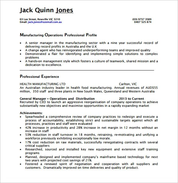 Sample Operations Manager Resume - 9+ Download Free Documents in PDF