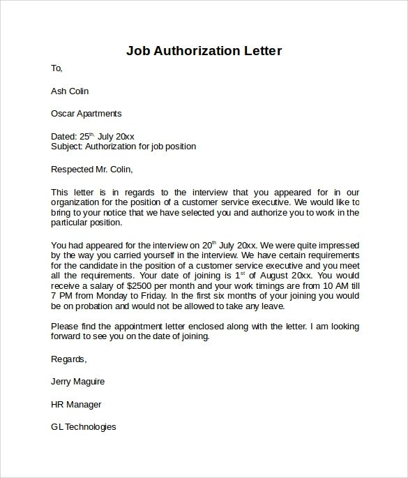 Sample letter of Authorization \u2013 8+ Free Dcouments in Word, PDF