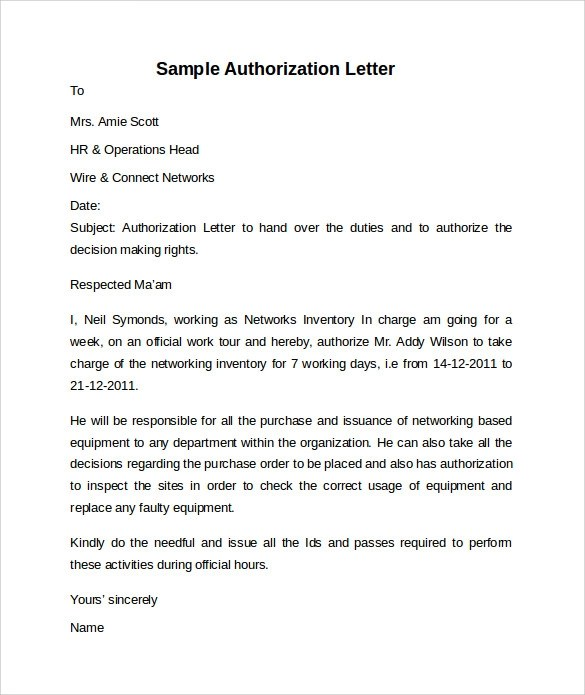 Authorization Letter Sample Authorization Letter Format Sample Letter Of Authorization – 8 Free Dcouments In Word