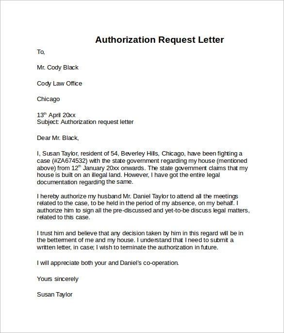 9 Sample Letter of Authorization Download for Free Sample Templates - example letter requesting something