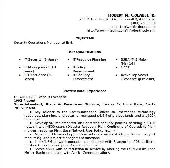 10+ Sample Operation Manager Resumes Sample Templates - operations director cv