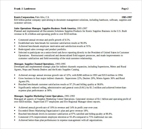 Sample Operations Manager Resume - 9+ Download Free Documents in PDF - fixed base operator sample resume