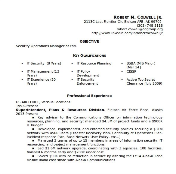 Sample Security Resume - 11 + Download Free Documents in PDF, Word - it security resume