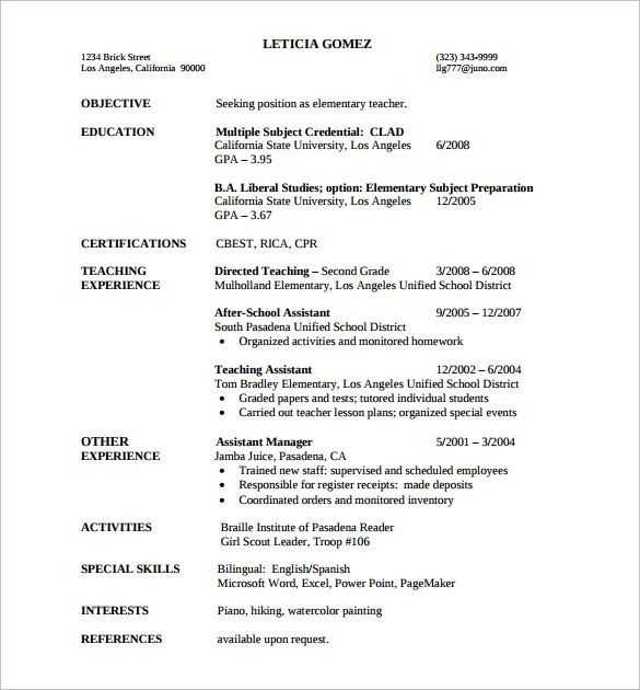 elementary school teacher resume example