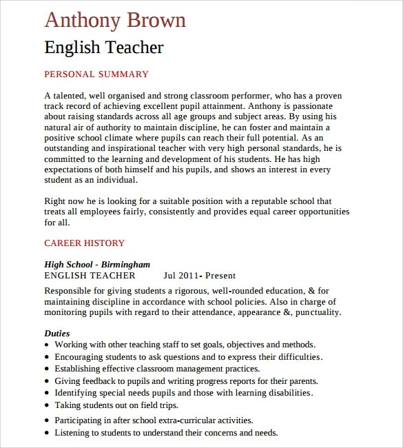 resume format for teaching profession