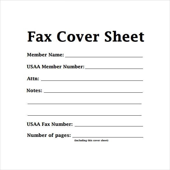sample of fax cover page