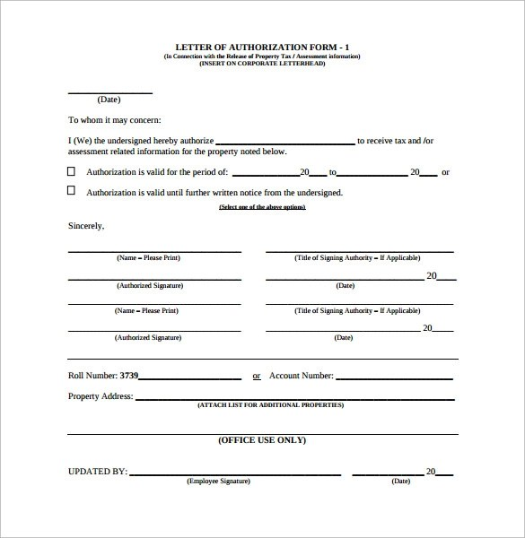 20 Letter of Authorization Forms \u2013 Samples, Examples  Format - Letter Of Authorization Form